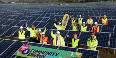 18/2/2016 Pic by: Penny Cross  Ernesettle solar farm.  Panels are going on the frames this week. Pictured: Councillor Pete Smith, members of the PEC team, members of FGCT, PEC Renewables Directors and contractors take a look at the site    Contact: Jemma Knowles 01752 304528 Requester:  Alex Wood