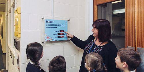 Children learn about the electricity generated on their school rooftop