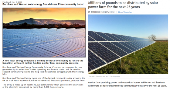 news articles on the launch of burnham and weston energy cic, new local community energy enterprise